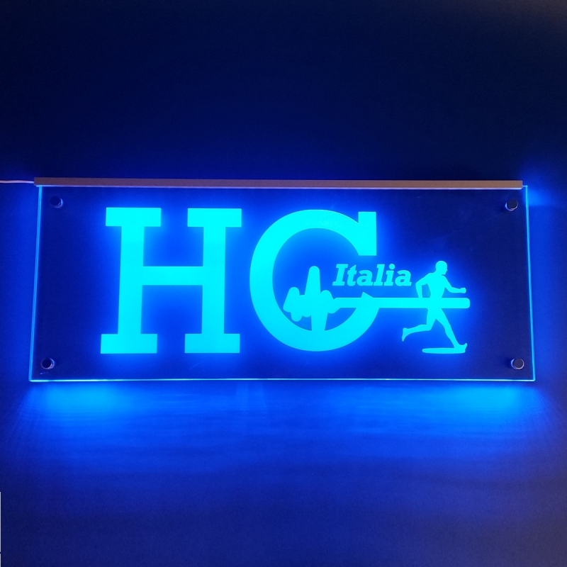 Targa plexiglass illuminata con led