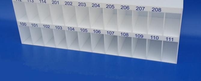 Casellario plexiglass bianco per albero hotel